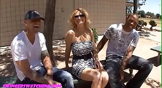 SwingersWatching.com Chubby camel toe big fake tit wife FUCKED in front of hubby