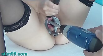 Peehole Play with Drilldo and Bladder filled with Spunk and Piss