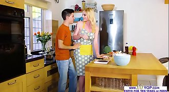 Gorgeous blonde babe Carly Rae fucked in the kitchen