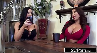 Twin Silicone Beauties Sharing Lucky Cock