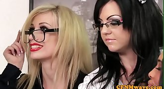 Spex cfnm female dom facialized after cockblowing