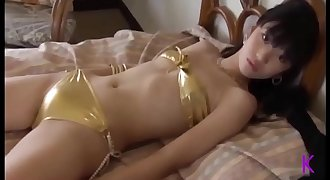 Japanese Girl Gold Bathing suit