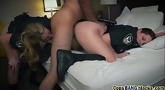Two abusive blonde cops savagely used helpless big black cock felon